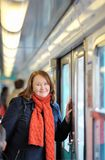 Woman in Parisian metro Royalty Free Stock Photo