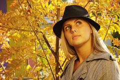 Woman in the park. Pretty woman in the autumn park stock photography