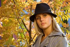 Woman in the park. Pretty woman in the autumn park stock photo