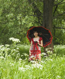 Woman in park stock photos