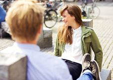 Woman on a Park Bench Together with Boyfriend Royalty Free Stock Photos
