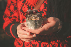 Woman in park with cupcake Stock Images
