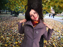 Woman in the park. Woman dressed in the grey coat stands near the maple in the autumn park. Fallen leaves are the background in the pic Stock Images