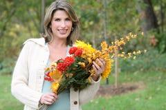 Woman in a Park, Fall, Seasonal Theme Stock Image