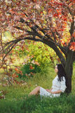 Woman in park. Pleasure of spring nature. Stock Photography
