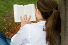 Woman in park reading a book Stock Images
