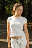 Woman in park ready for jogging Royalty Free Stock Images