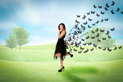 Woman in a park sense of freedom. Person emotions and expressions portrait Stock Photography