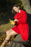 Woman at park sets of maple leaves Stock Photo