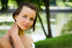 Woman in park at summer Stock Image