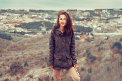 Woman in parka jacket outdoor Royalty Free Stock Photography