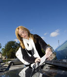 Woman and Parking ticket Royalty Free Stock Image