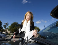 Woman and Parking ticket Royalty Free Stock Photography