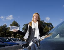 Woman and Parking ticket Stock Photos