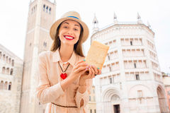 Woman with parmesan cheese in Parma Stock Photos