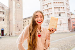 Woman with parmesan cheese in Parma Royalty Free Stock Photo