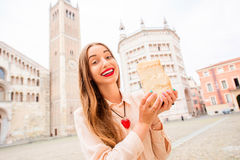 Woman with parmesan cheese in Parma Royalty Free Stock Images
