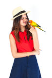 Woman and parrot on white background. Stock Image
