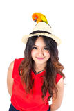 Woman and parrot on white background. Royalty Free Stock Photo