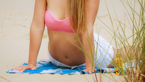 Woman part body on beach Royalty Free Stock Photos