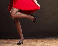 Woman part body in red dress. Stock Photography