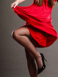 Woman part body in red dress. Royalty Free Stock Photos