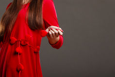 Woman part body in red dress. Royalty Free Stock Images