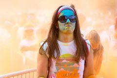 Woman participating in the Color Run in Prague