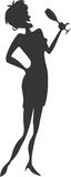 Woman in a Party. Silhouette of a woman drinking in a party stock illustration