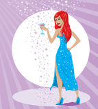Woman at party stock illustration