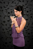 Woman party dress drink cocktail glass Royalty Free Stock Photo