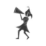 Woman with party megaphone icon Stock Images