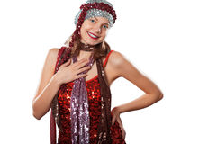 Woman, party, sequins Stock Photo