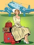 Woman passenger airport baggage Royalty Free Stock Image