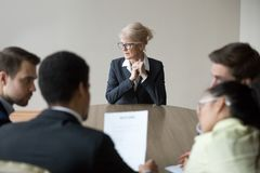Woman passing job interview in the office at boardroom stock image