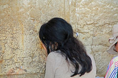 Woman Passionately Praying at the Western Wall Royalty Free Stock Photos