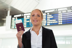 Woman with passport stock photos