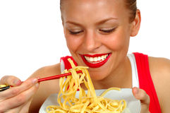 Woman With Pasta 3 Royalty Free Stock Images