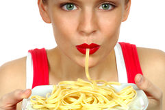 Woman With Pasta. Woman Eating Pasta Royalty Free Stock Image