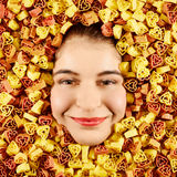 Woman and pasta Royalty Free Stock Image