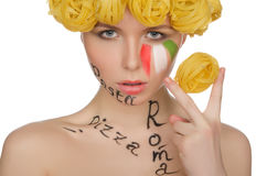 Woman with pasta and symbols of Italy Royalty Free Stock Photography