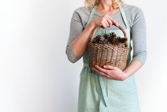 Woman Pastel Clothes Basket Hands Hold Pine Cones Stock Photo