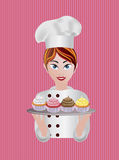 Woman Pastry Chef Illustration Royalty Free Stock Image