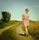 Woman in a path Royalty Free Stock Photography