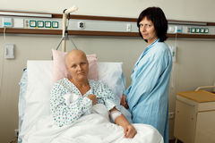 Woman patient with cancer in hospital with friend Stock Image