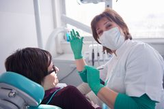 Woman patient at the dentist Stock Photos