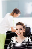 Woman patient at the dentist waiting to be checked up Stock Photo