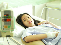 Woman patient in hospital bed Stock Images