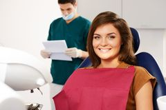 Woman patient and man dentist Royalty Free Stock Images