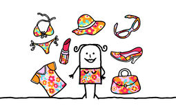 Woman & patterned accessories Stock Photography